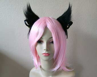 Black Long Fur Cat Ear Set / Black Ribbon + Bell with Headband (Clip & Band Convertible) Gothic Lolita Kitty Ears Cosplay Anime Neko Costume