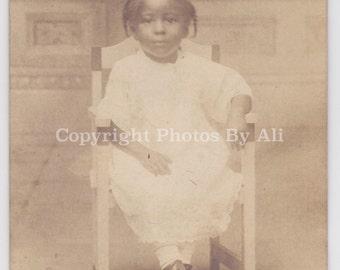 Sweet Stoic little girl - African American Siblings - Vintage photograph-RPPC
