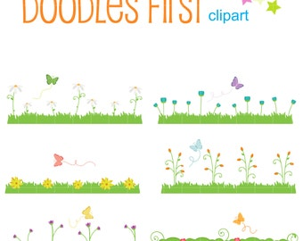 Spring Flowers And Grass Digital Clip Art for Scrapbooking Card Making Cupcake Toppers Paper Crafts