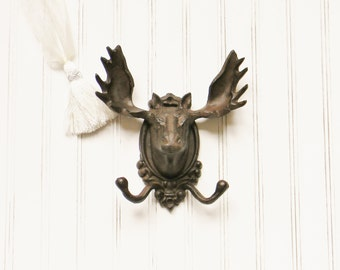 Cast Iron Wall Hooks,Coat Hooks,Faux Taxidermy,Decorative Coat Hooks,Moose Wall Hook,Animal Wall Hooks,Cabin Decor,Gifts for Men,Lodge Decor