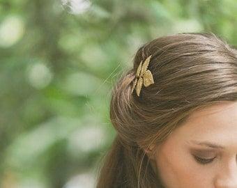 Gold Leaf Hair Pin Leaf Bobby Pin Leaf Hair Clip Bridal Hair Bobby Pin Bridal Hair Clip Rustic Woodland Wedding Gold Bridal Hair Accessories