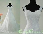 Gorgeous White A-line Straps Neckline Court Train Lace Wedding Dress