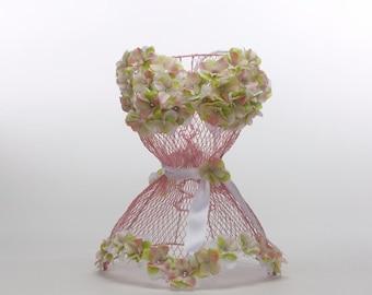 SALE Bridal Shower Centerpiece, Pink Wire Corset (Bridal Shower Centerpiece Decor, Table Decoration, Unique Bridal Shower Decor)