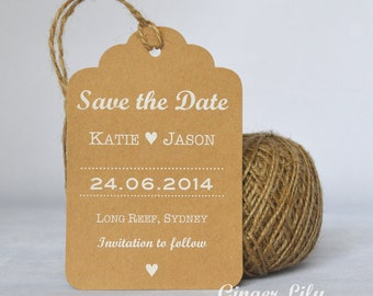 Rustic Kraft Luggage Tag Wedding Save the Date Card - White Print - Heart Design - Jute Twine
