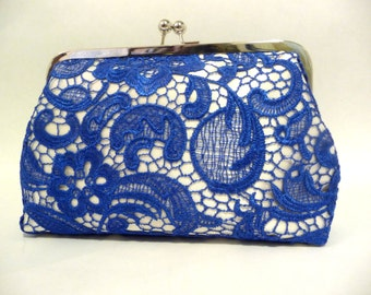 Blue Lace Clutch, Bridal Clutch with Lace Overlay, 8 Inch Frame, Blue Wedding Purse, Something Blue Bridal Clutch