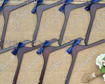 Set of 8 Personalized Bridal Hangers, Custom Hanger, Wedding Hangers, Bridesmaid Gift, Bride Hanger, Mrs Hanger