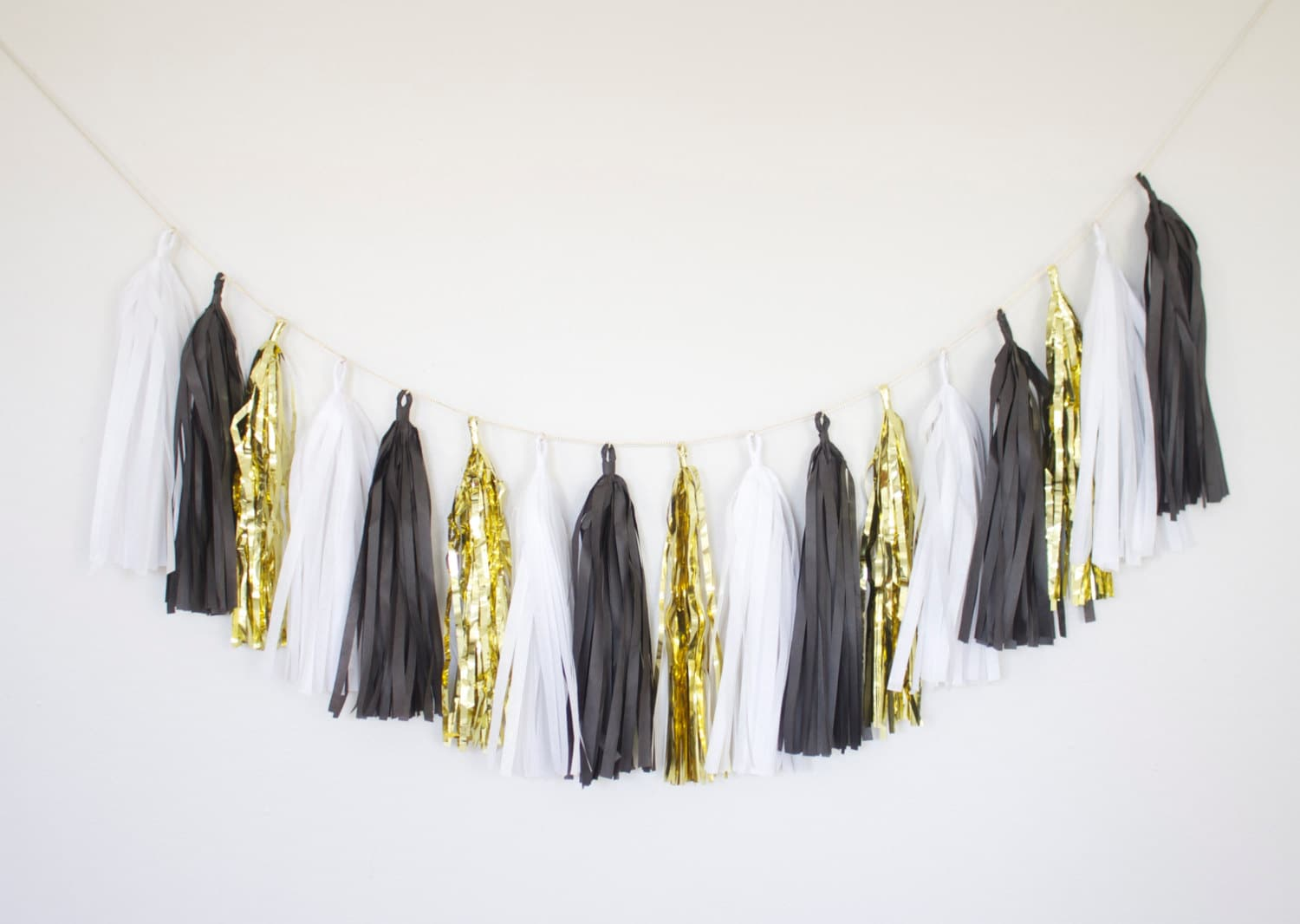 black white and gold tassel garland gold party decor