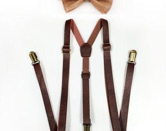 Brown Suspenders, Tan Bowtie, Tan bow tie, brown leather suspenders, tan bowtie set, Men's Suspenders, Barnyard Wedding, Groomsmen