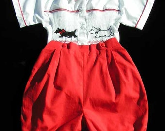 Boys Angus smocked short set, red and white set with smocking in the front and back, embroidered scotty dogs, boys clothes, 16464