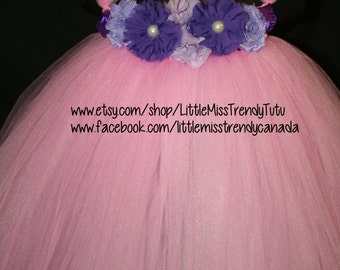 Pink Tutu Dress with Lavender and Purple Flowers, Pink Flower Girl Tutu Dress, Pink Tutu Dress, Pink Tutu Birthday Dress