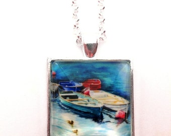 Watercolour Pendant, Necklace, Moored Boats, Art Jewellery, Mothers day
