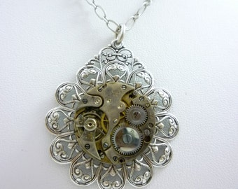 SteamPunk Necklace with Vintage Watch Movement on Antique Silver Finish Filigree Pendant by Victorian Folly