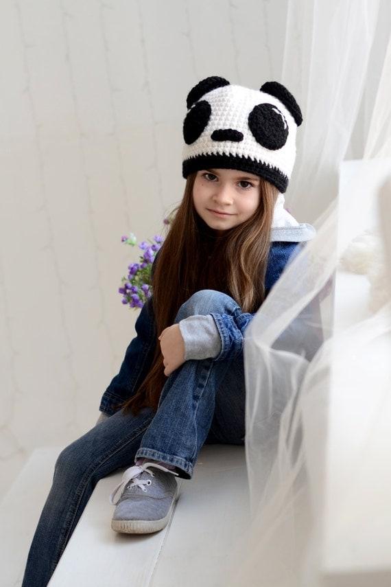 Crochet girls hat, Panda girls hat, Animal childrens hat