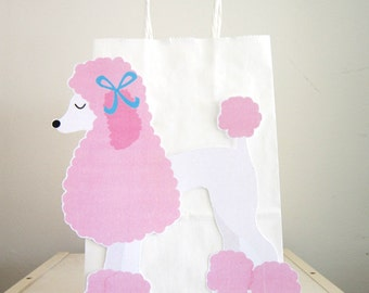 Pink Poodle Puppy Dog Party Favor, Goody, Gift Bags