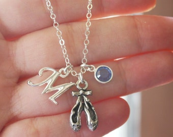 Personalized Ballet Necklace, Ballet Slippers Necklace, Ballet Pointe Shoes, Letter Birthstone, Custom, Ballet Gifts, Ballet, CLCB