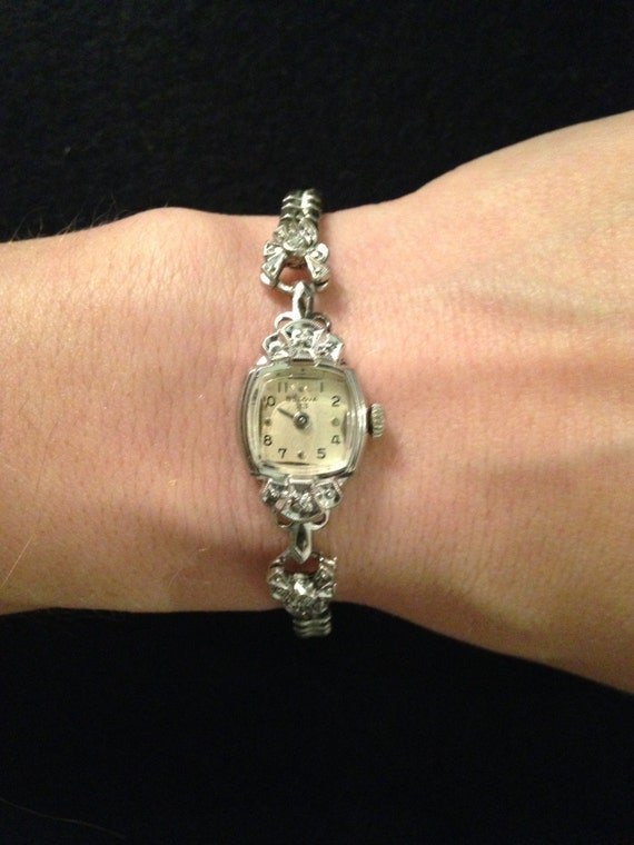 Vintage 10k White Gold And Diamond Bulova Watch With Sterling