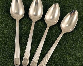 4 VG Art Deco Teaspoons Oneida Community NOBLESSE 1930 Vintage Silver Plate Spoons Silverplate Flatware Silverware Spoons