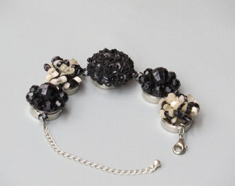 """Repurposed Vintage Earring Bracelet named """"Black Tie Affair"""""""