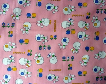 Poodle Fabric Piece in Pink & White - Cotton - 44 inch wide X 1 yard