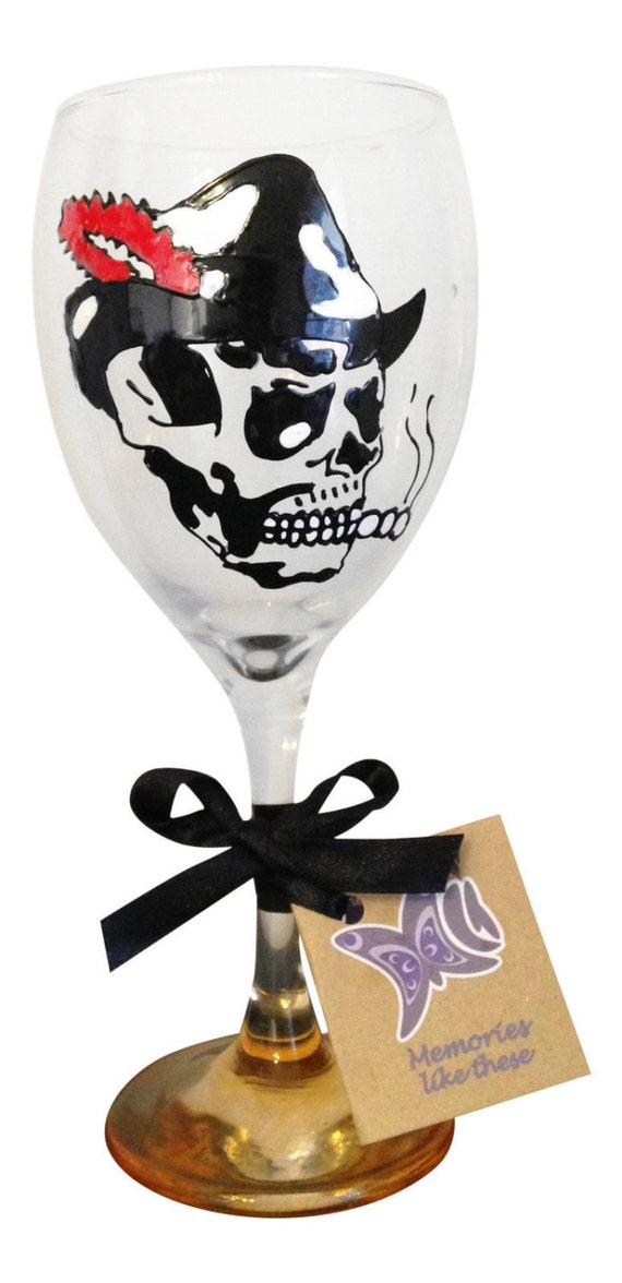 Skeleton Hand Painted Wine Glass Cool Skull Gift Unique Rock
