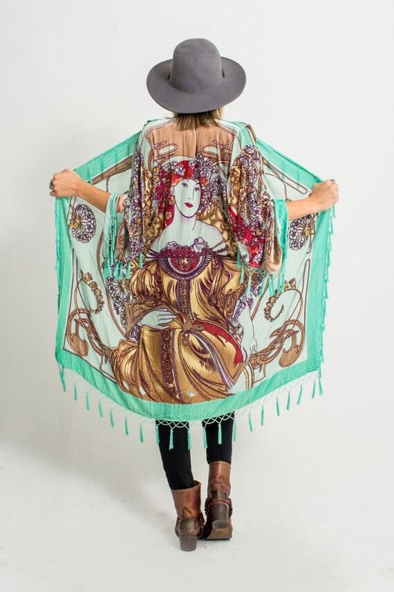 Velvet Beaded Fringe Kimono | Art Nouveau