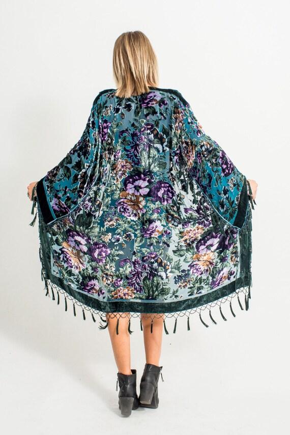 Velvet Beaded Fringe Kimono | Teal Floral