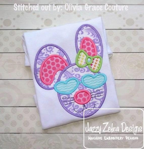 Girl Bunny Rabbit wearing Heart Sunglasses Appliqué Embroideyr Design - Easter appliqué design - Girl Bunny appliqué design