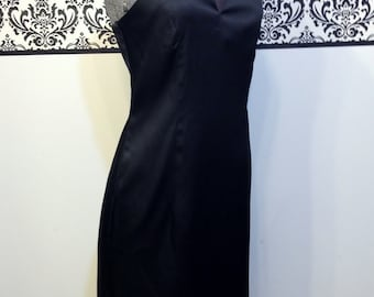1980's Little Black Pin Up Cocktail Dress  w/ Beaded Straps by Indeed, Size 7, Vintage LBD, Cut Out Hollywood Dress, Criss Cross Straps