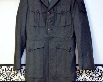 1950's / 1960's Navy Corpsman USMC Alpha Jacket,  Size Small , Size 36 / 38 , USMC Greens USN 3rd Class Chevron Corpsman, Wool Orlon Blend