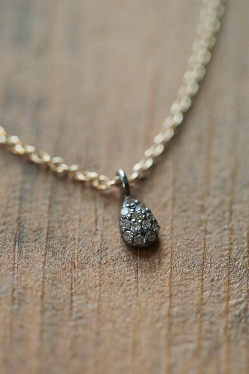 dainty diamond necklace tiny diamond pendant by. Black Bedroom Furniture Sets. Home Design Ideas