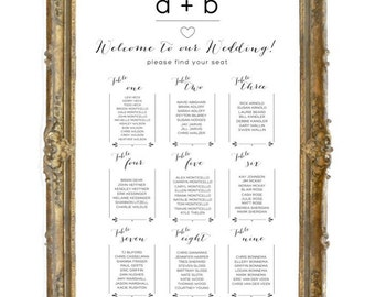 Wedding Seating Assignments Black & White, Wedding Seating Chart, Wedding Table Assignments, table chart, place settings, Modern Seating