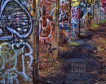 Graffiti Art, Urban Decor, Graffiti Print, Abandoned Building, Colorful, Blue, Red, Purple, Brown, Home Decor, Graffiti Photos, Canvas Print