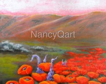 Poppy wall  art, landscape mountain painting print on canvas, red poppy painting, Original art byNancy Quiaoit