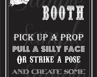 PHOTOBOOTH - Fun - Black and White - Vintage SIGN - Wedding - Birthday - Baby Shower - PRINTABLE Pdf - Instant Download