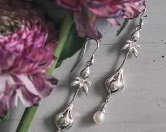 Art Nouveau wedding earrings with iris flower - sterling silver earrings with pearl - long earrings - wedding jewelry - fine jewelry