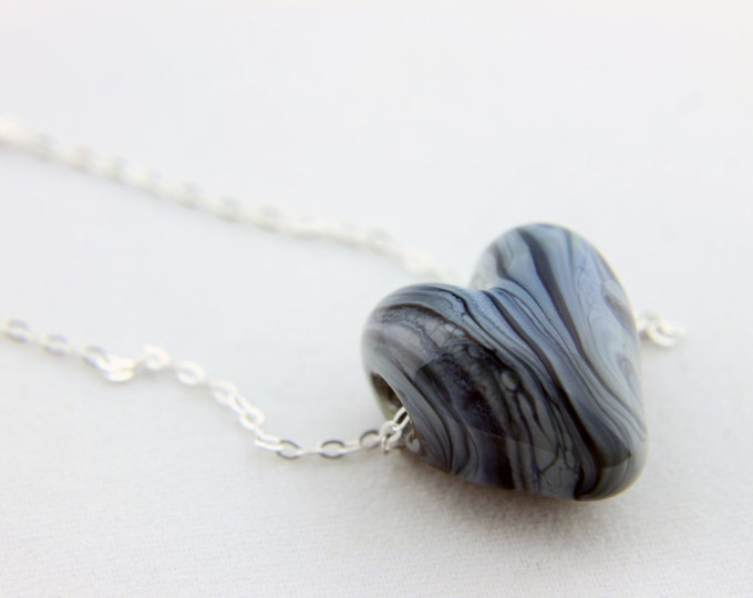Grey stripes 1/ heart pendant/ hand made/ sterling silver chain/ lamp work heart pendant by Destellos - Glass Art & Accessories