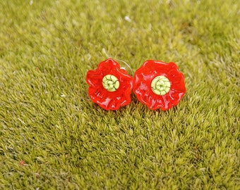 Poppy flower lampwork studs, glass flower earrings, red earrings, poppy earrings, red flower earrings, nature earrings, lampwork earrings