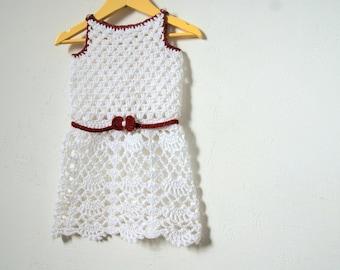 Crochet baby dress, girls dress crochet,  crochet baby girl outfit, girls crochet dress natural white, girls outfit
