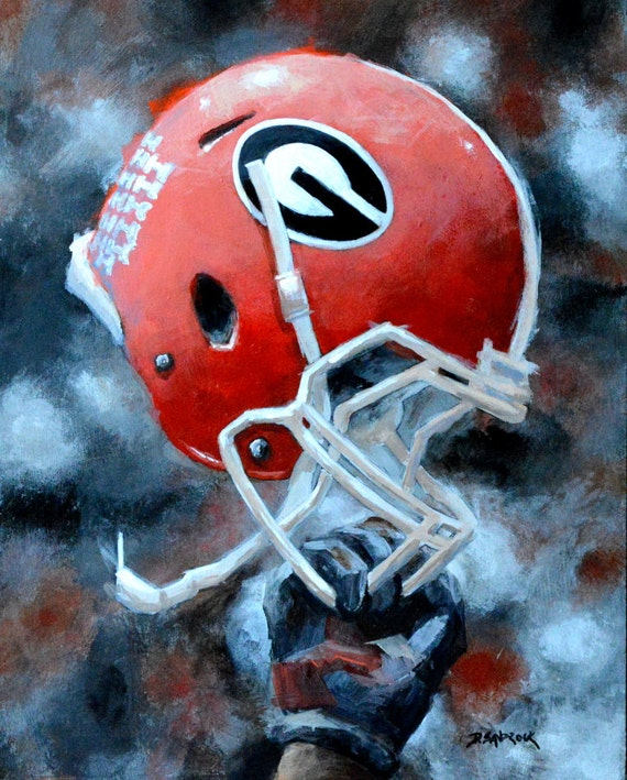 Football Helmet Painting : Original art georgia football helmet painting of