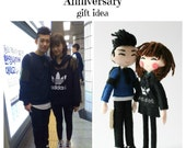 18cm Selfie Doll. Personalised art dolls. Anniversary gift ideas. Gift for couples. Boyfriend, girlfriend gift idea. Anniversary gift.