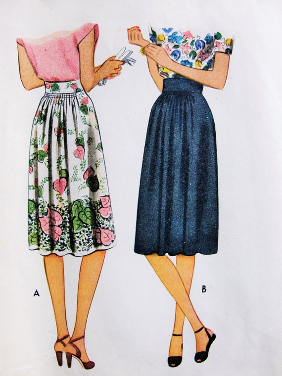1940s Skirt Pattern McCall 5877  Lovely Details Shirred Gathers Classic Forties Design Waist 28 Vintage Sewing Pattern FACTORY FOLDED