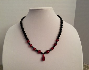 Black and Red Beaded Drop Necklace