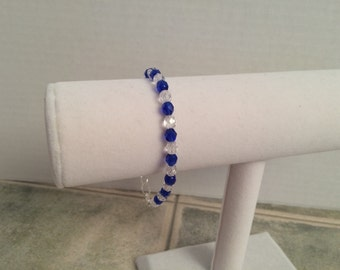 Sapphire and Crystal Bead Bracelet