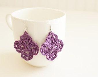 Purple Crochet Earrings