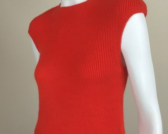 mod red-orange ribbed cap sleeve knit top 60's