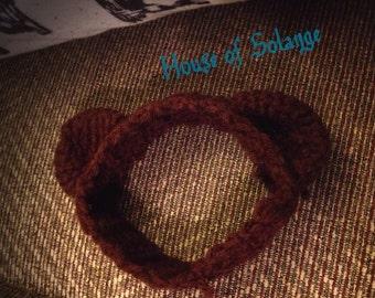 Baby Brown Bear Ear Headband, Newborn Headband, Crochet Bear Headband, Handmade Bear Ear Headband