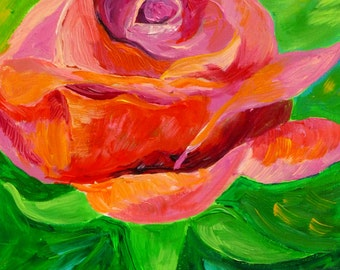 Red Rose painting, original art, floral painting, acrylic painting, whimsical flower, gift idea for women, unique gift ideas for her