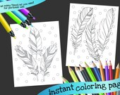 Feather coloring page printable 2 pack - INSTANT DOWNLOAD - adult grown up printable coloring page zen