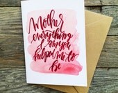 Watercolor Mother's Valentine's Day card, mom you are a blessing, I love you mom, thinking of you