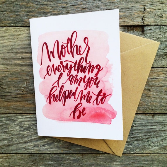Sweet Mother's Day card, mom you are a blessing, I love you mom, thinking of you, gift for her, pink watercolor